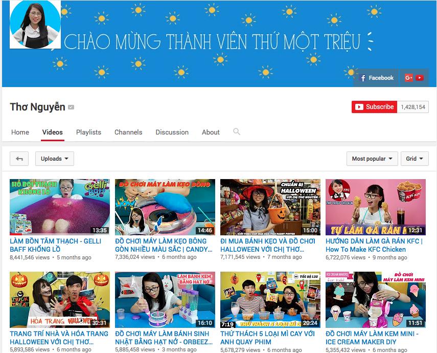 Mỗi video của Thơ Nguyễn trung bình có khoảng 1-2 triệu lượt xem. Một số video nổi bật có thể lên đến 5-8 triệu