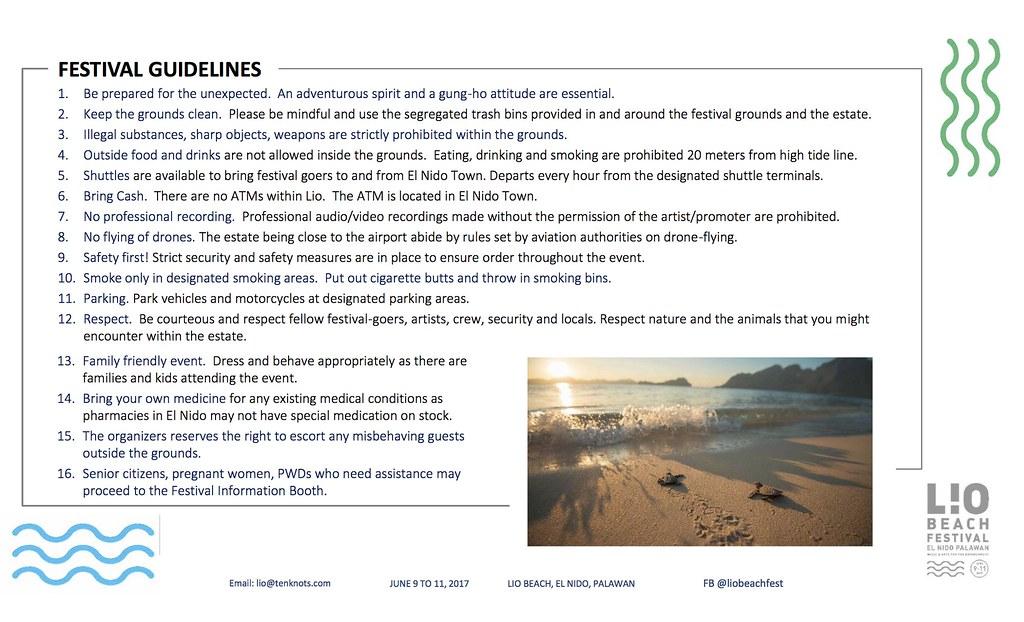 Lio Beach Festival 2017- Festival Guidelines