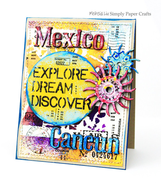 Meihsia Liu Simply Paper Crafts Mixed Media Card Vacation Mexico Simon Says Stamp Tim Holtz 1
