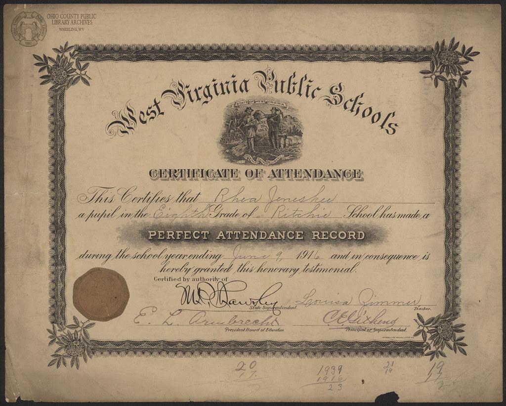 Wv Public Schools Certificate Of Attendence Ritchie Schoo Flickr