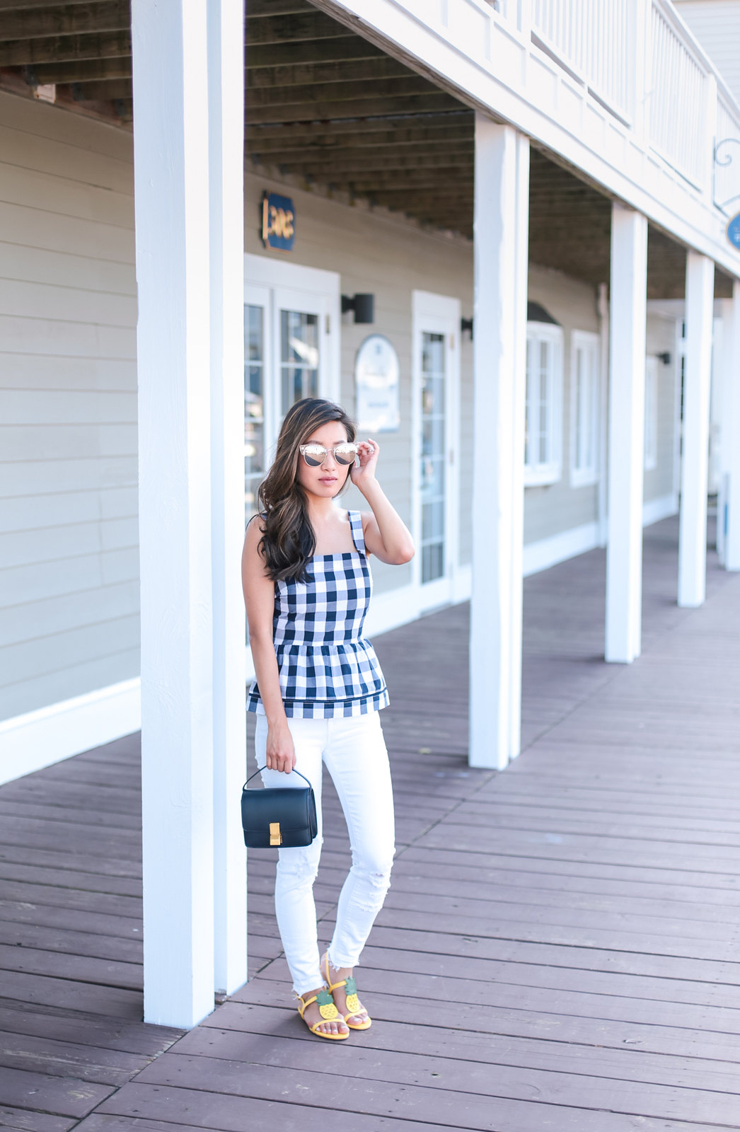 boston summer outfit white jeans navy gingham extra petite
