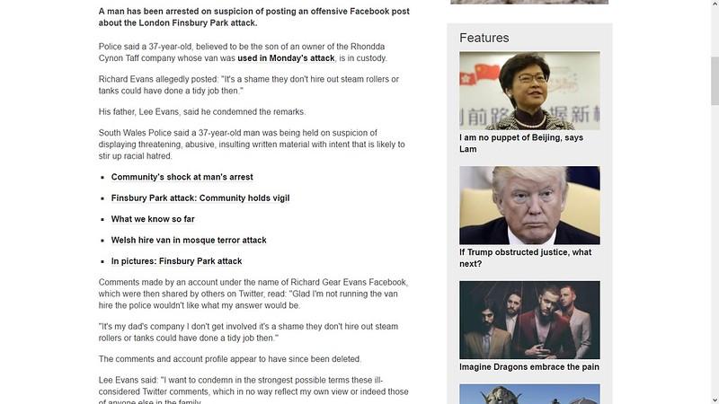 britisk politi har arrestert en person på grunn av facebook