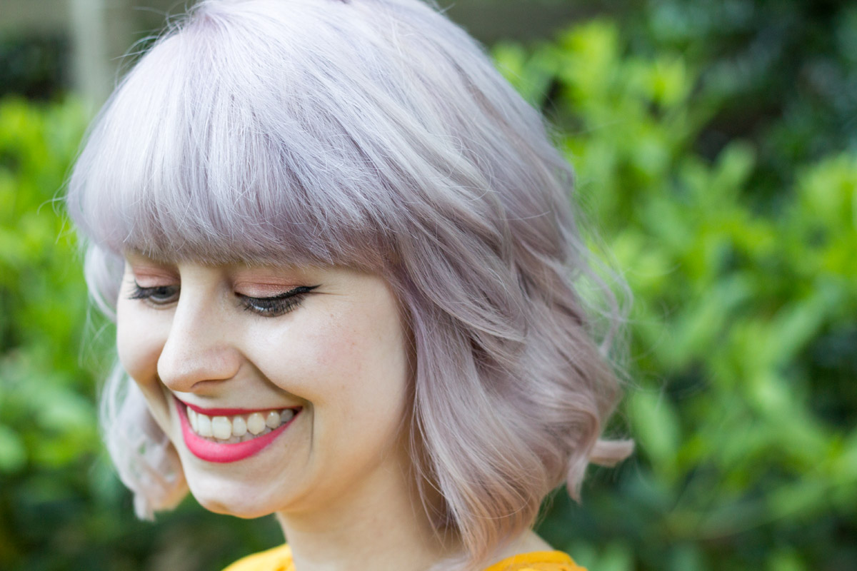 Cool Toned Silver Blonde Hair with Bangs