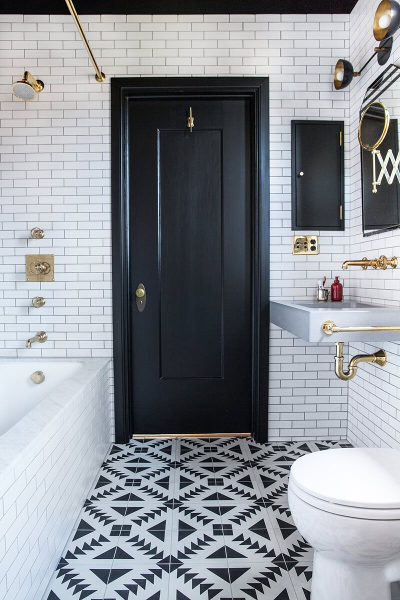 The 15 Best Tiled Bathrooms on Pinterest Black and White Geometric Tiled Floor Bathroom Gold Hardware