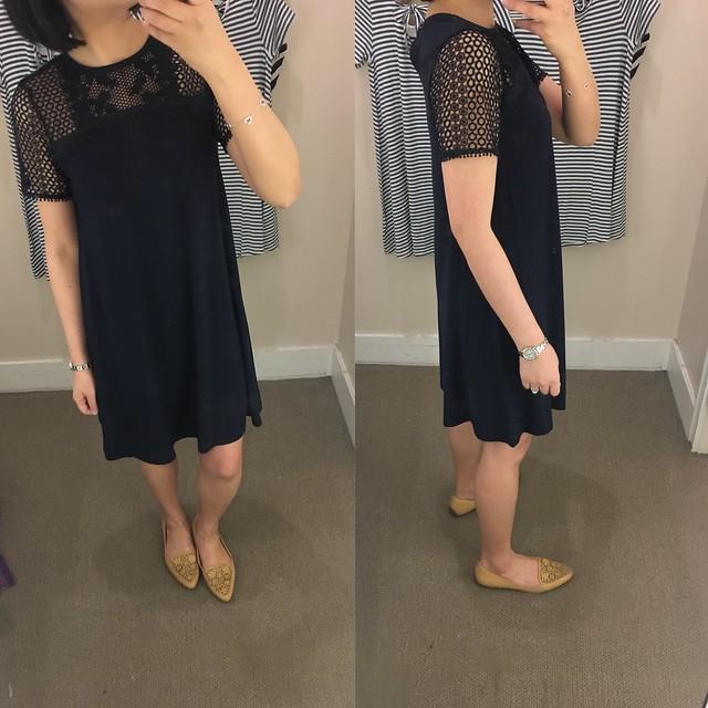 LOFT Lace Yoke Swing Dress, size XSP