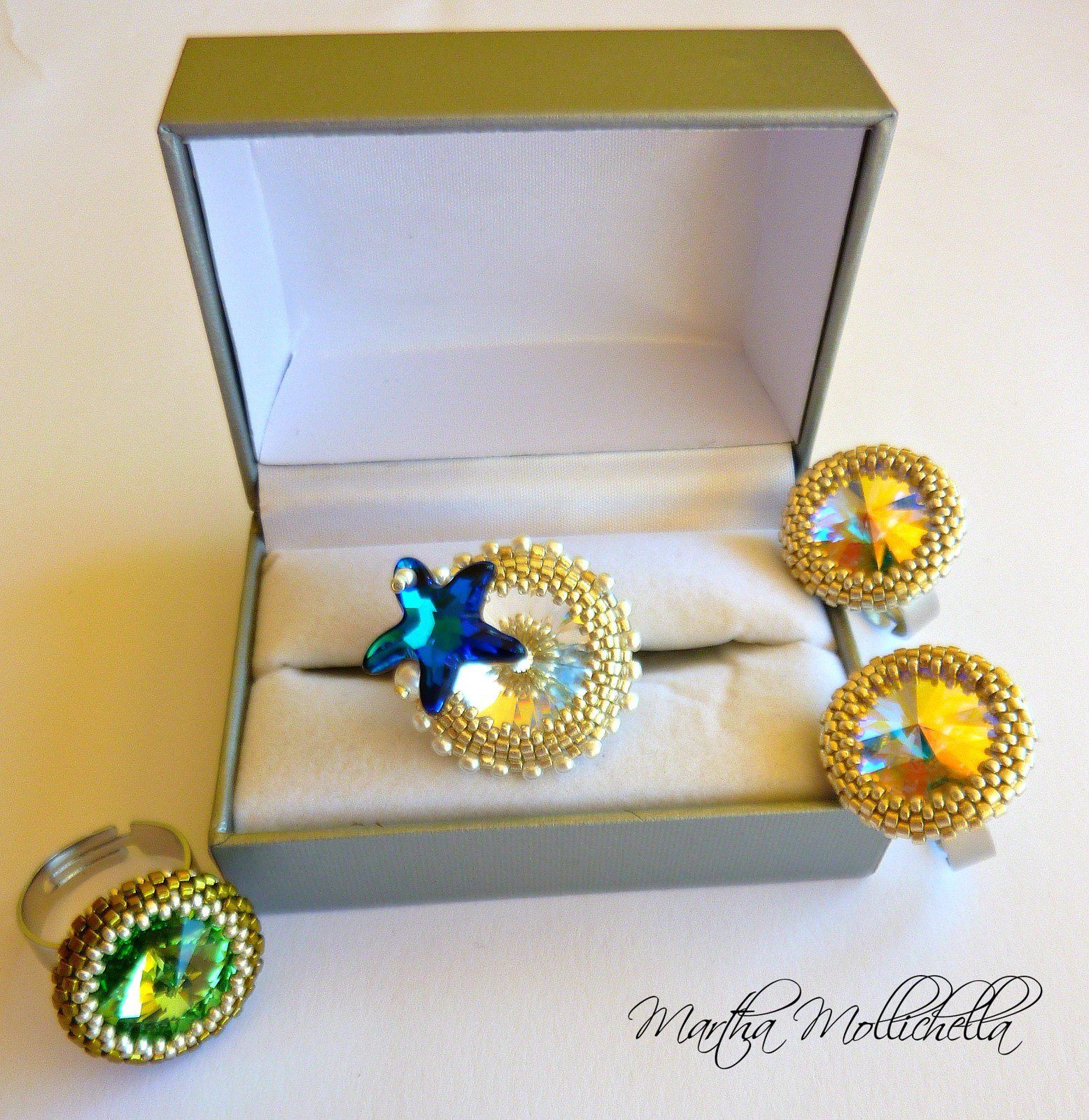 Swarovski ring starfish handmade jewels by Martha Mollichella