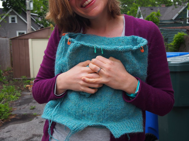 Snuggling my Lopi sweater-in-progress.