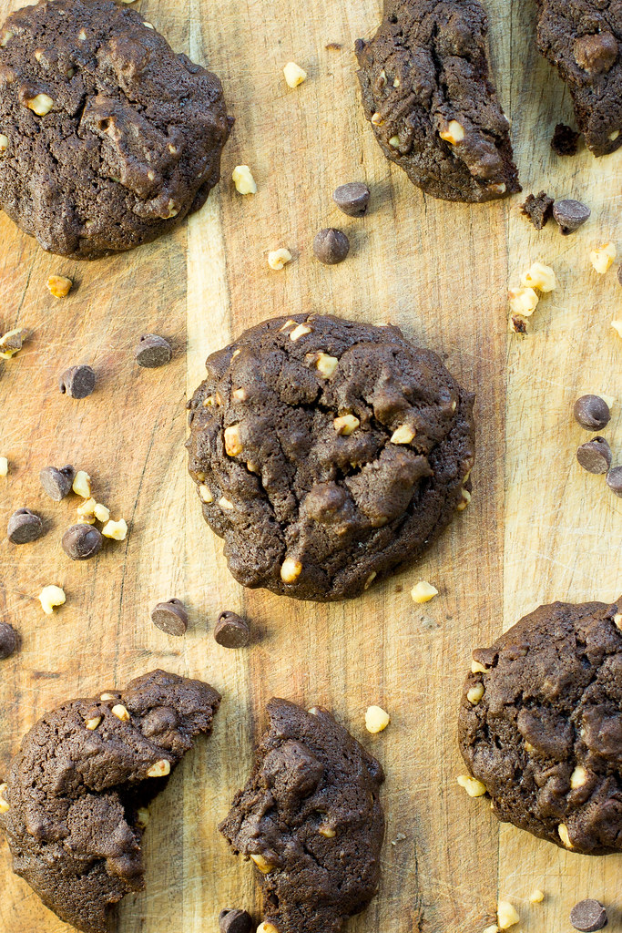Double chocolate espresso walnut cookies. Mix by hand in one bowl!