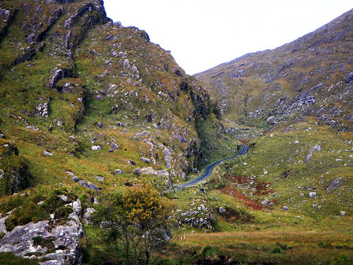 Driving through the Ballighbeama Gap to Killarney in Ireland