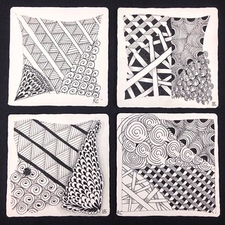 "My student's and my tiles from tonight's individual ""Introduction to Zentangle"" class in Windsor, Ontario. #zentangle #tangle #tangling #czt #laurelreganczt #art #classes #artclass #artclasses #draw #drawing #windsor #ontario #yqg 