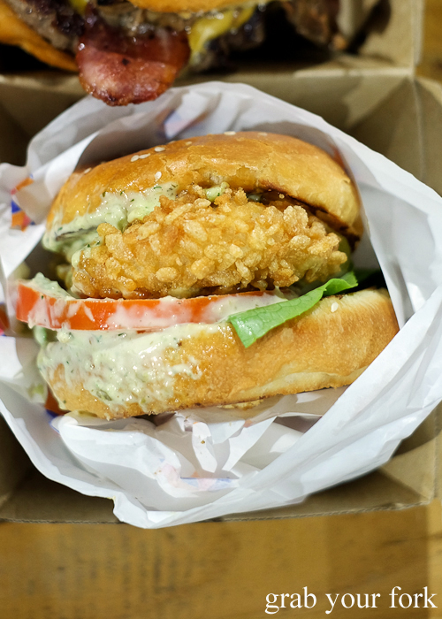 Crispy rice battered chicken crack burger from Dirty Bird at Paddy's Night Food Markets