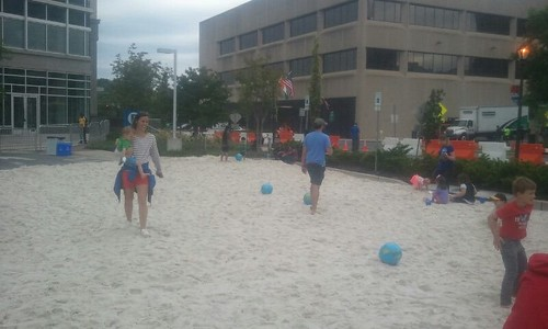 Temporary parking lot beach at Rockville Town Center