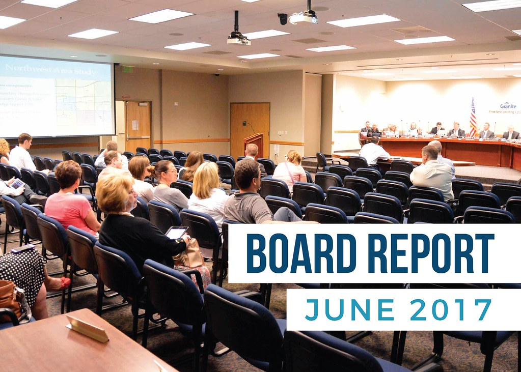 Members of the public gathered at board meeting with text 'Board Report June 2017'