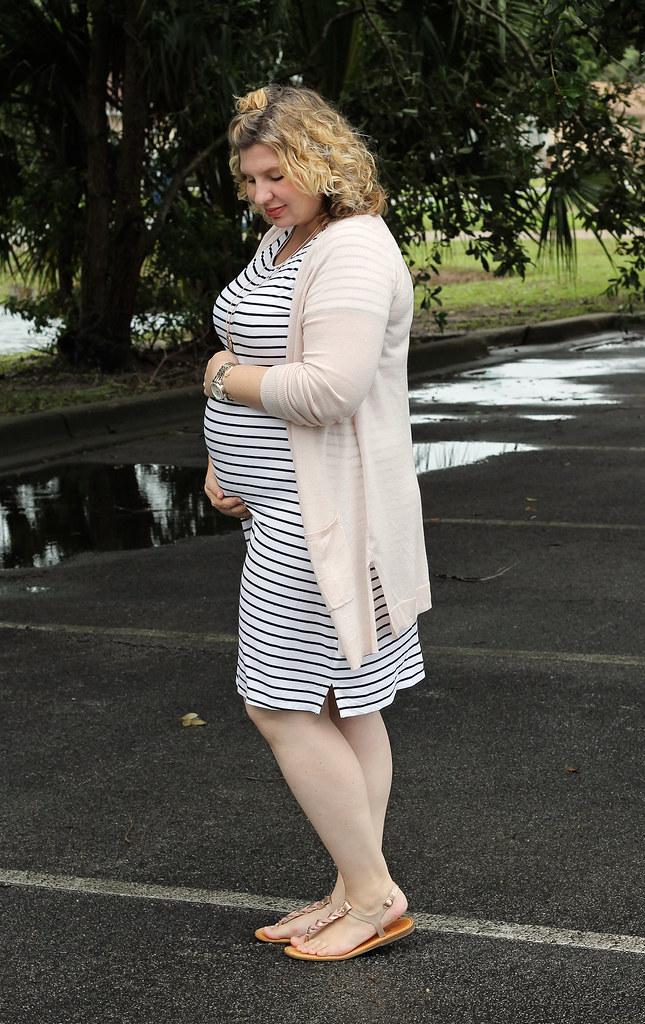 black and white stripe dress, long blush cardigan 5