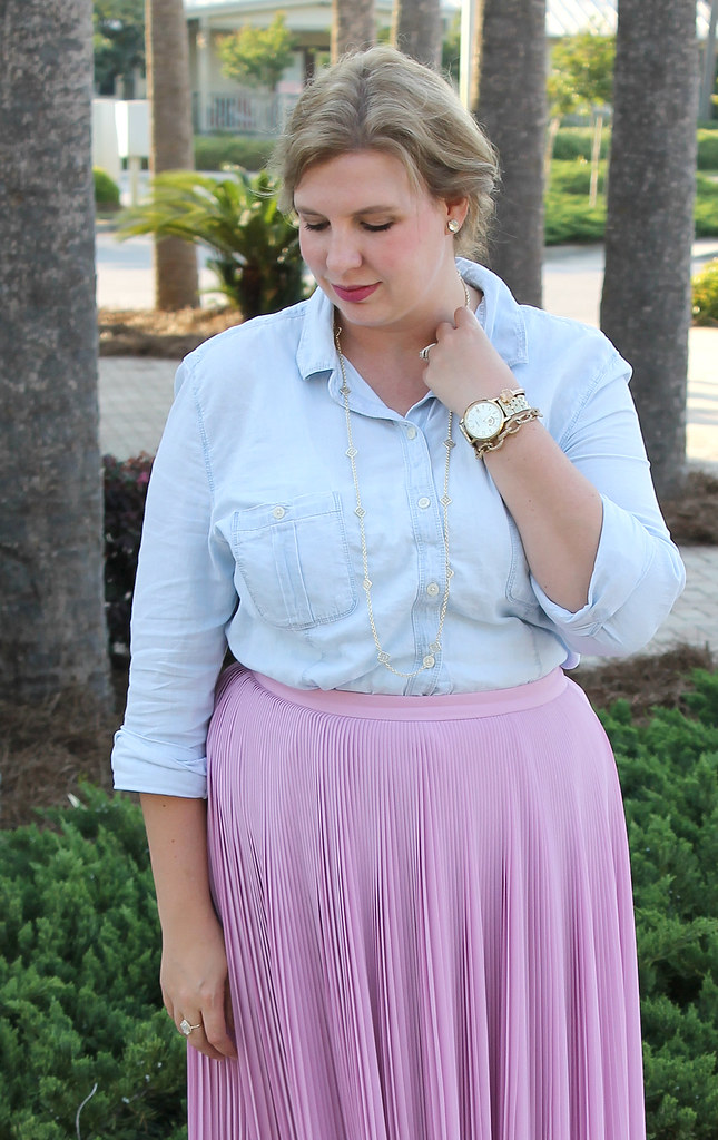 pink pleated midi and a chambray shirt 2