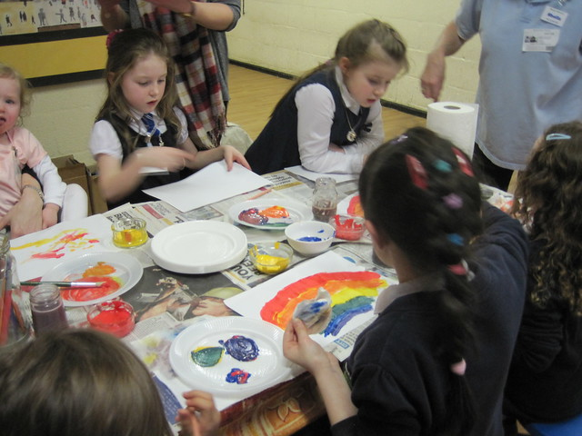 Paint mixing activity from chapter 4 of Messy Church Does Science