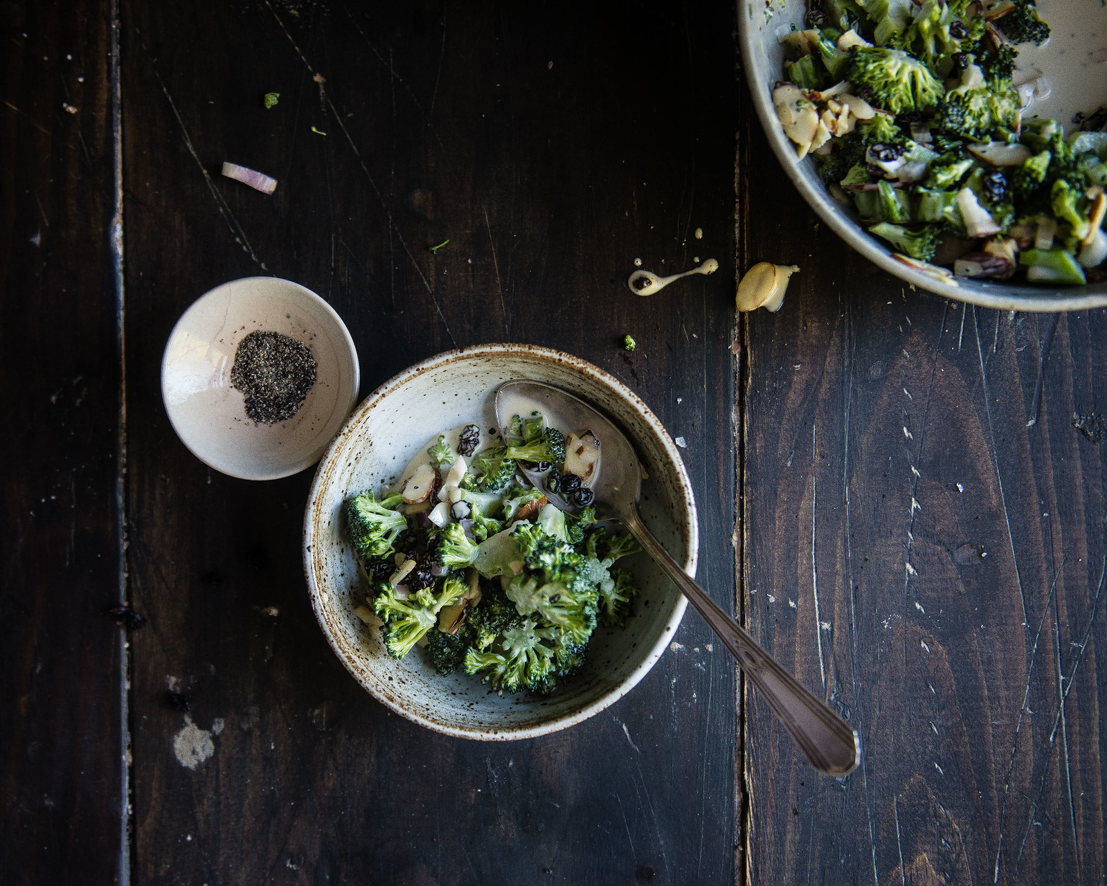 creamy broccoli salad with almonds & raisins