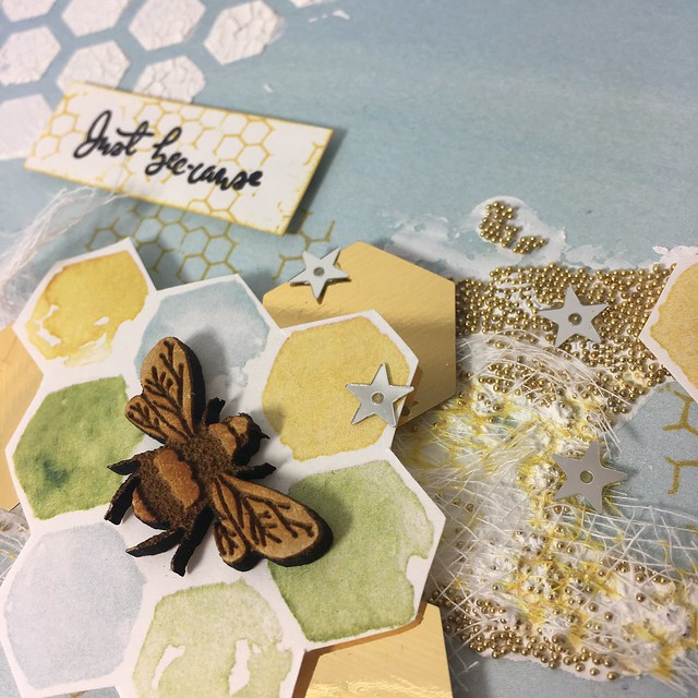 Mixed Media Bee Garden Cards - Honeycomb stencil texture embossing paste crackle - Mags Woodcock