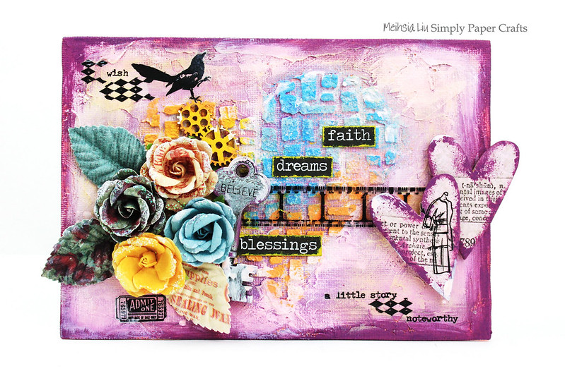 Meihsia Liu Simply Paper Crafts Mixed Media Canvas Simon Ssays Stamp Prima Flowers Texture 1