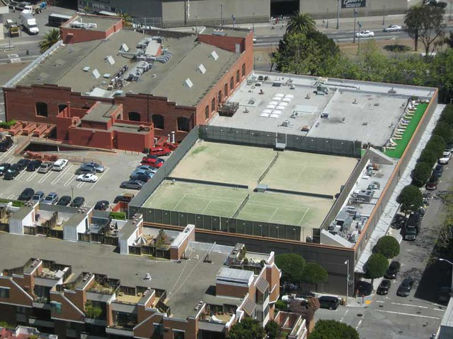 Tennis courts on top of a building in San Francisco