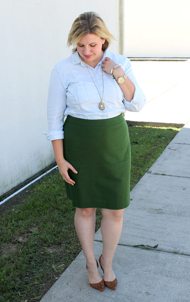chambray skirt and green pencil skirt 4
