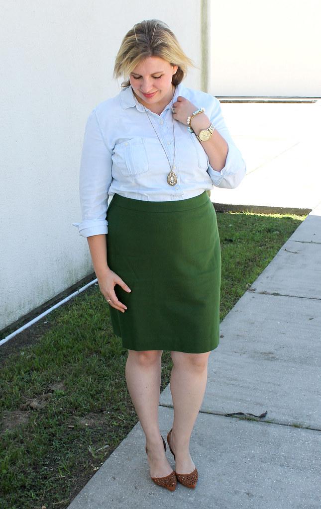 chambray skirt and green pencil skirt 4