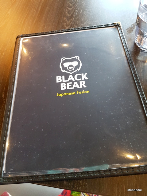 Black Bear Japanese Fusion menu cover