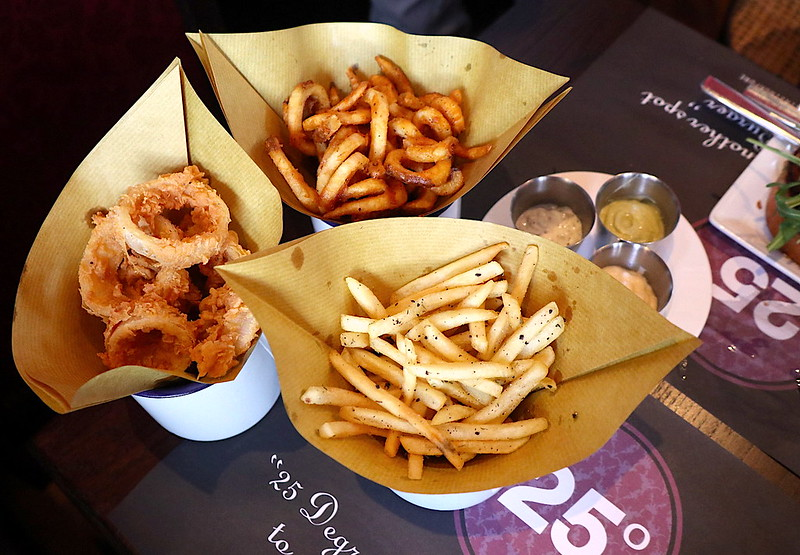 Fries, Curly Fries and Onion Rings