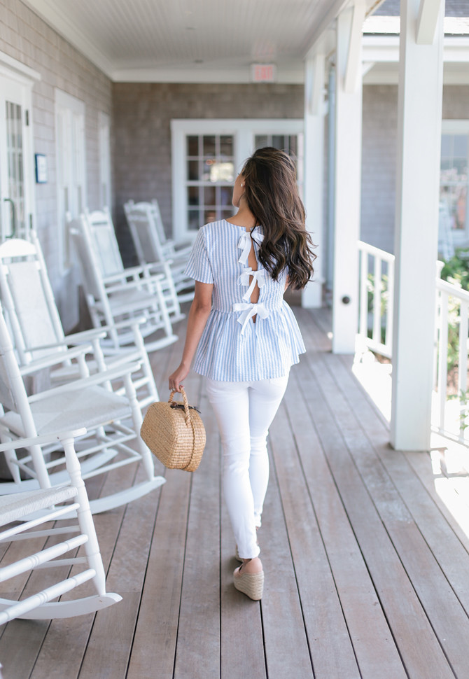 preppy bow top white jeans summer new england outfit