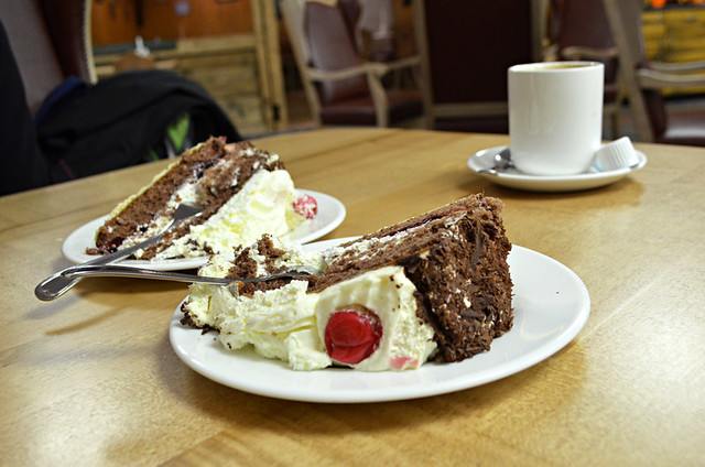 Kaffe un Kuchen with Black Forest gateau, Germany