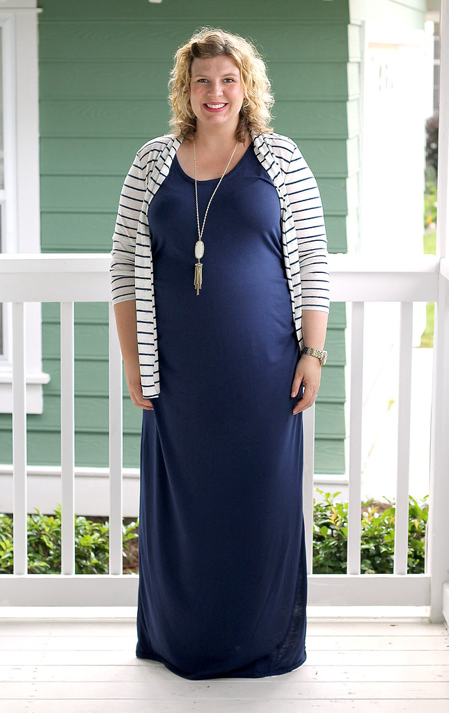 navy maternity maxi dress and white and navy striped cardigan 3