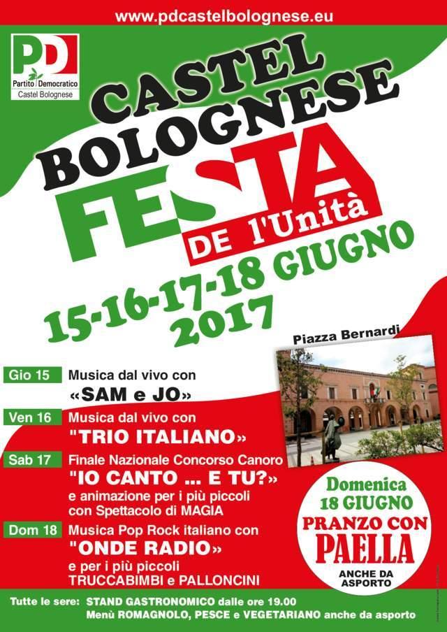Festa De l'Unita' dal 15 al 18 giugno 2017 in Piazza Bernardi