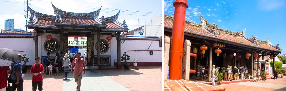 左)独特な屋根をいただく青雲亭寺院 右)参詣客でにぎわう青雲亭寺院本堂