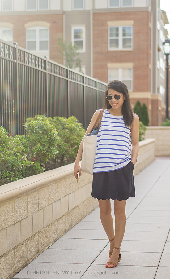 striped tie back sleeveless top, navy skirt with scallop hem, canvas tote, brown suede sandals