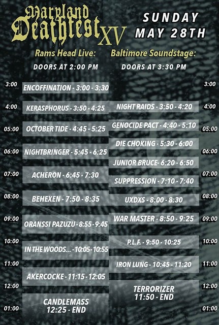 MDF XV Sunday schedule