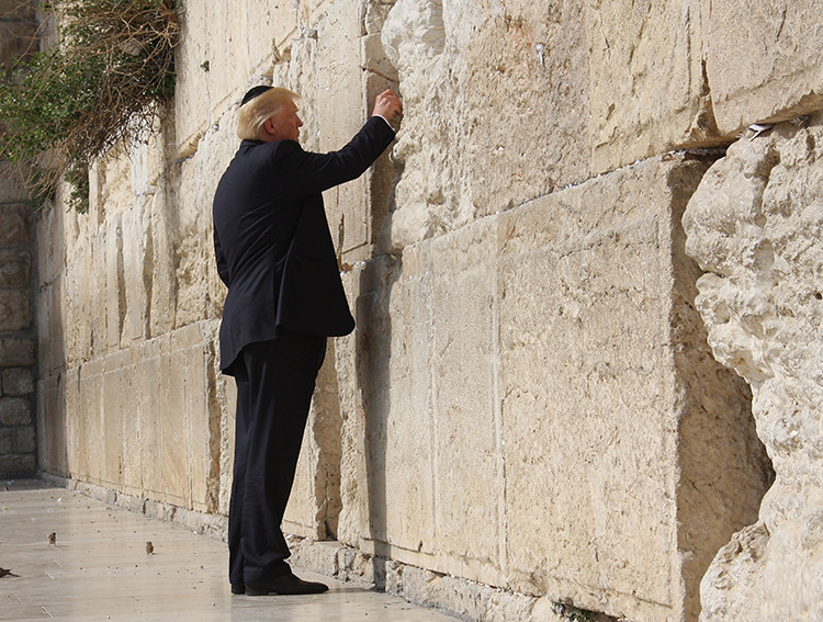 Image result for wailing wall and trump