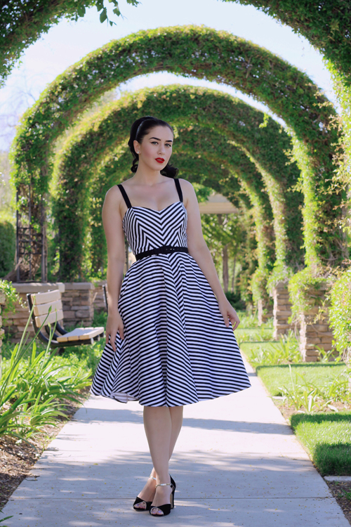 Vixen by Micheline Pitt Dollface Dress in Black Stripe
