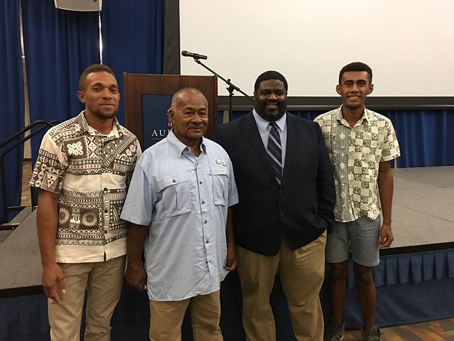 Nemani Baleinayaca, Tui Mali, Allen Sutton and Bale Uate stand together.