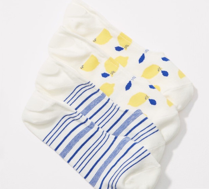 LOFT Lemon & Stripe No Show Sock Set