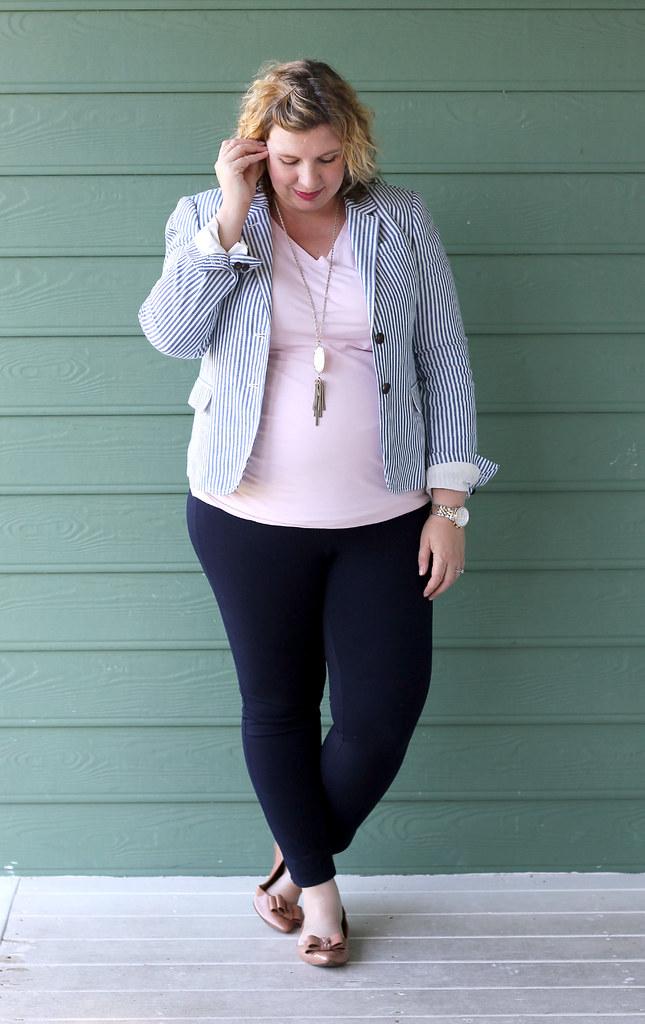 seersucker blazer, navy maternity pencil pants, bow flats 6