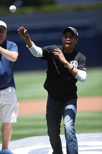 SAN DIEGO (May 18, 2017) Operations Specialist Seaman Derek Wiltz, from Guam, and USS Mobile Bay (CG 53) Bluejacket of the Quarter, throws the first pitch at an afternoon baseball game at the San Diego Padres' Petco Park