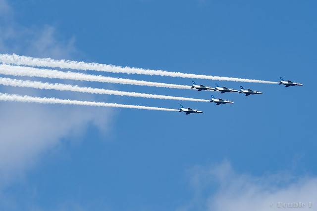Blue Impulse's rehearsal flight for the 410th anniv. of Hikone Castle (9) Swan Low Pass