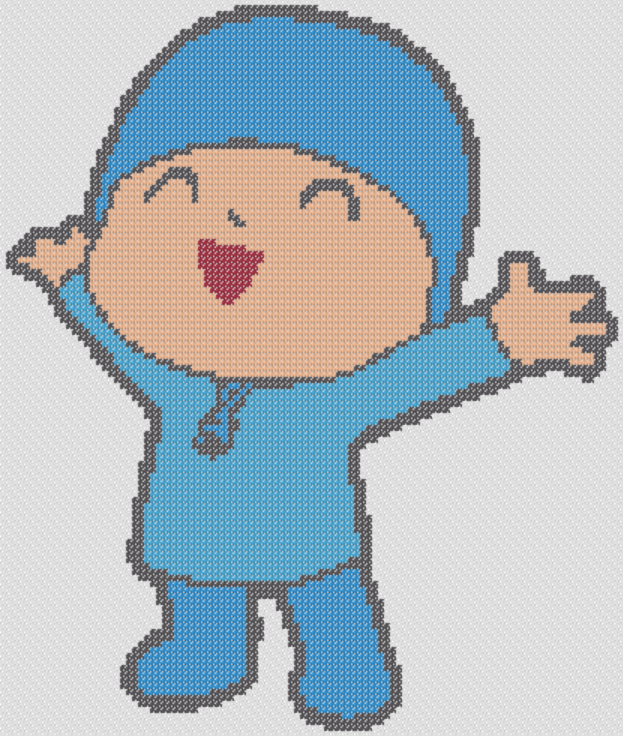 Preview of Pocoyo Happy stitching chart