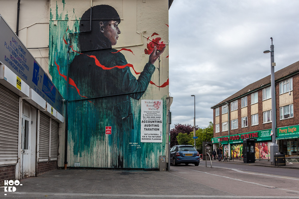 Latest Mural on E17's Wood Street features the work of Cam Scale And Loretta Lizzio