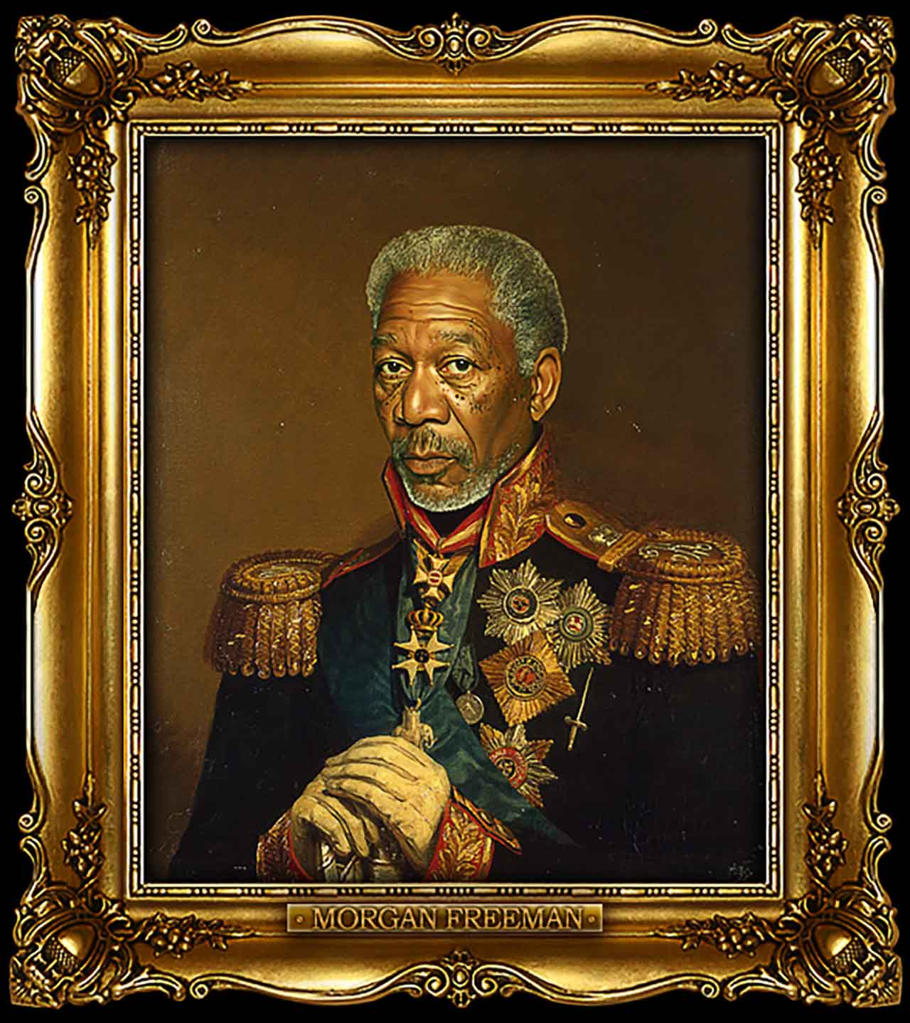 Artist Turns Famous Actors Into Russian Generals - Morgan Freeman