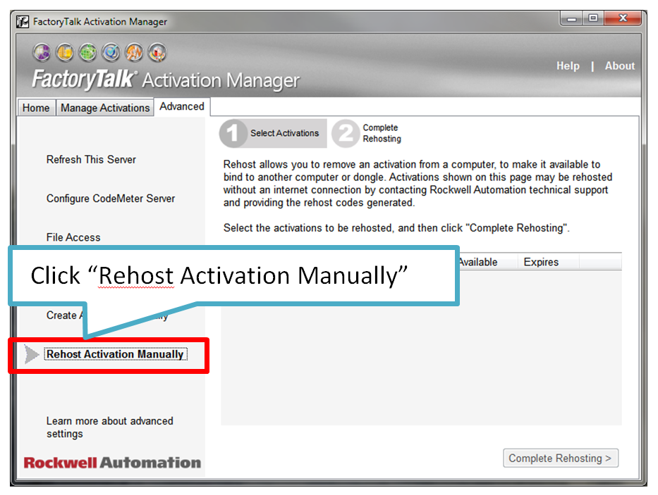 Click on Rehost Activation Manually