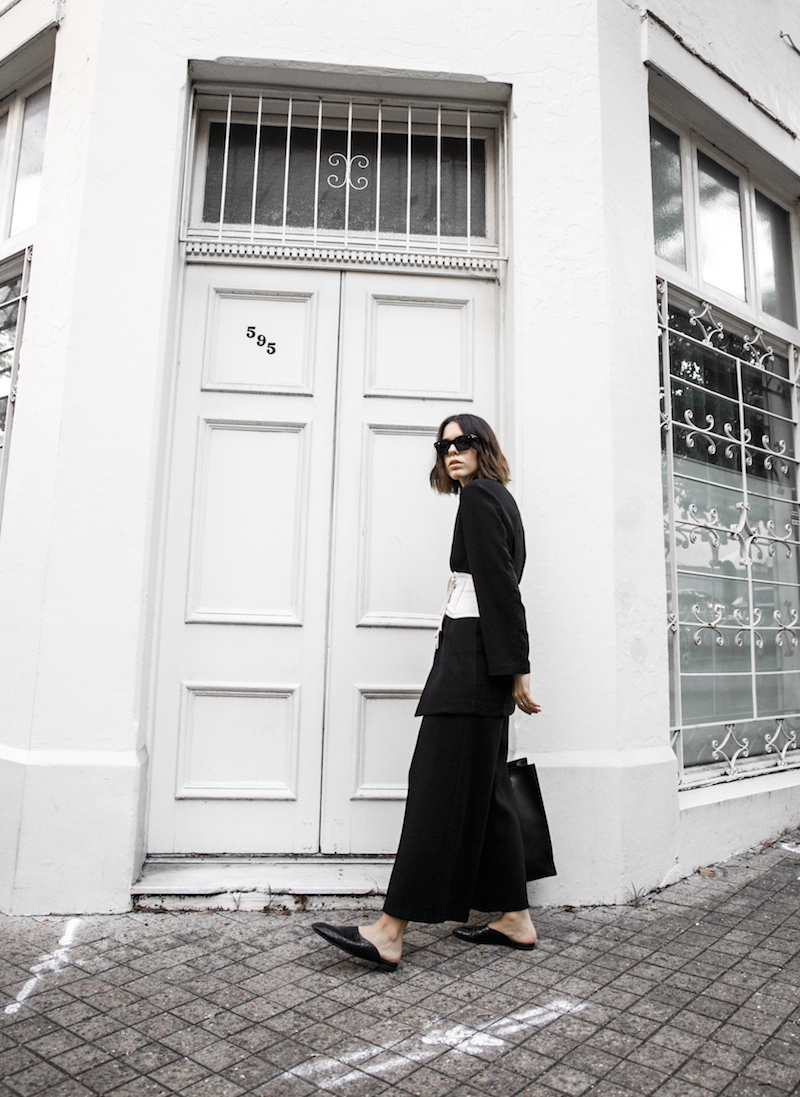 corset belt trend black suit street style loafer mules Givenchy logo tote bag monochrome fashion blogger minimal style kaity modern legacy (1 of 1)