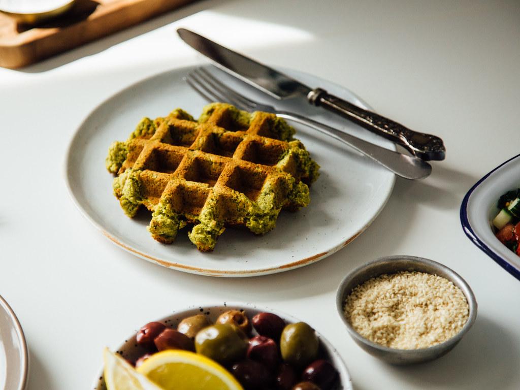 Naked falafel waffle