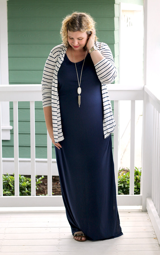 navy maternity maxi dress and white and navy striped cardigan 4