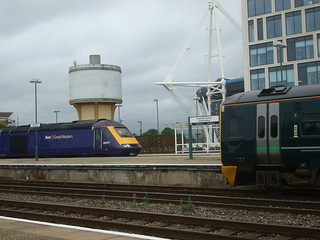 An Intercity 125 on the Pembroke Coast Express, and a class 158, at Cardiff Central